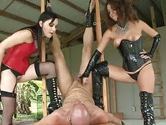 Two Femdoms Handjob their..