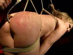 Naughty blonde gets bondaged..