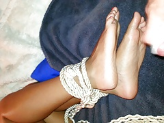 Tied up girl  to feel cum on..