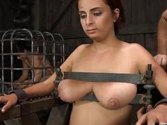 Tied up slave receives..