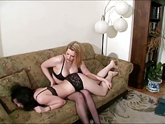 brunette is tickled and..