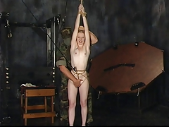 Blonde bitch gets roped to..
