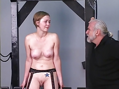 Young blonde receives beldam..