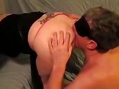 husband-slave lick wifes ass..