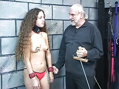 Small-titted collared bdsm..