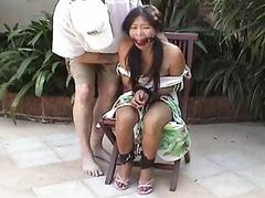 Asian teen tied beside and..