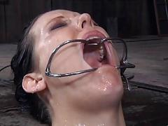 Clamped up girl receives her..