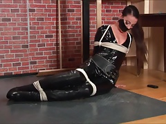 Brunette girl in catsuit..