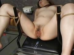 Asian slave tied up and toy..