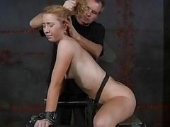 Morose hot girl in bondage..