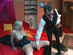 Blonde slave Dildoing and..