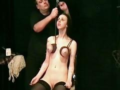 Brutal tit hanging bdsm of..