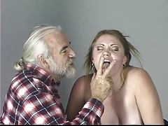 Blonde lackey tastes her ass..