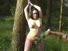 Cubby amateur in woodland BDSM