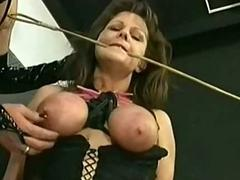 Slave close by tied up tits..